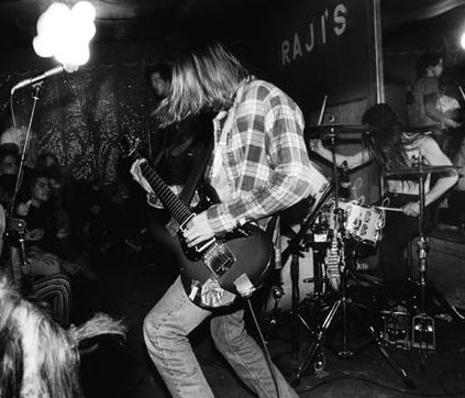 Nirvana, from a live performance in Seattle on Halloween, 1991.