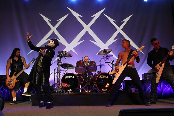 King Diamond of Mercyful Fate always strikes an ominous figure onstage..